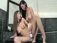 Pair of showering skinny teens get turned on and enjoy girl-on-girl fun in the shower