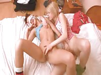 Blindfolded teen girl being handled and probed by her petite blonde eighteen year old lover