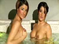 Flawless college-aged twin sisters exposing themselves and modeling while in a jacuzzi