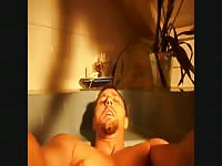 Guy with a scat fetish waits patiently in bathtub for wife to piss and shit in his mouth