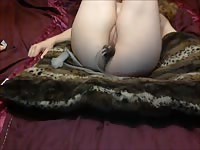 Stunning French whore is having fun with her well-used pussy