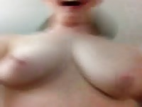 Fun young redhead whore with a fiery red bush jumping around so her big real tits bounce