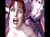High-quality hardcore animation sex video featuring a women captures by beast with tentacles