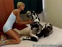 Zoosection - Blonde tattooed woman is having oral sex with her obedient pet