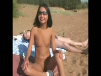 Sexy Mexican cutie gets naked on the beach in front of her dad