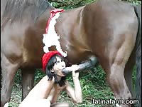 Horny brunette likes fucking with her grandfather's horse