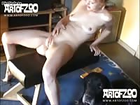 Art of Zoo - Slutty blonde girlfriend enjoys oral pleasuring from dog before she's fucked by the animal