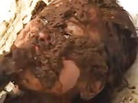 Sloppy scat fetish video featuring a fresh-faced college-aged Asian trollop covered in wet shit