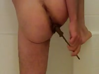 Old Asian guy wants to shit after masturbating his small cock in the bathroom