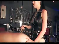 Worked up dark-haired hoe drilling on submissive dudes asshole in this anal pegging video