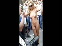 Sexy naked girls adore showing their bodies in the street